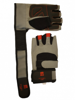 Fitness glove with wrist support, gray / black / red