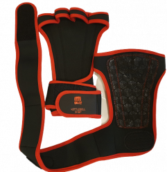 Grips for weightlifting with wrist rest black / red